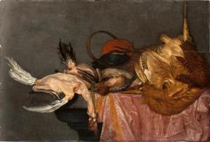 Stilleven van dood gevogelte op een tafel met een roze kleed