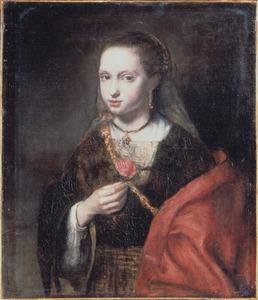 Portret van een vrouw in Oosters gewaad, ten halven lijve met een roos in de hand