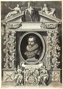 Portret van Gerard Thibault (?- 1627) in een architecturale omlijsting
