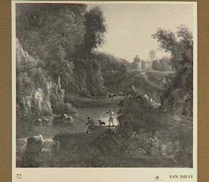 Bergachtig rivierlandschap met een visser in de voorgrond