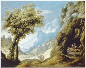 Berglandschap met de dode Christus beweend door engelen