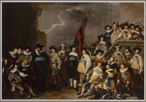 Portret van de Kloveniers compagnie van kapitein Cornelis de Graeff en luitenant Hendrick Lauwrensz.