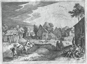 jongen te paard met doedelzakspeler