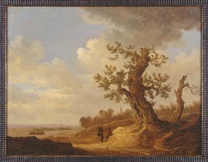 Landschap met grote eik