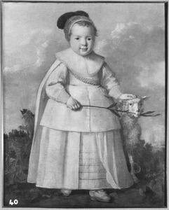 Portret van een jongen met een schaap