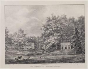 Gezicht op de hofstede Boekenrode met rechts een theehuis