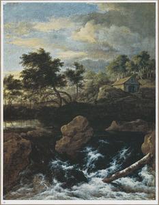 Berglandschap met waterval, in de verte een huis