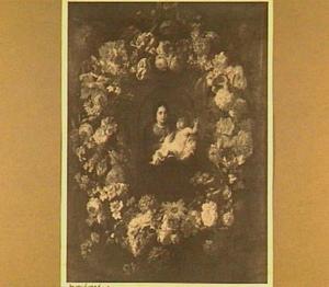 Voorstelling van Madonna met kind omringd door bloemen