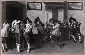 Elegant gezelschap van rokende en drinkende mannen in een interieur