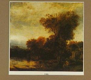 Rivierlandschap met een huis tussen een groep bomen