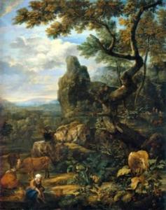 Landschap met vee en badende vrouw