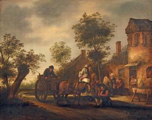 Halthoudende reizigers, paard en wagen bij een herberg