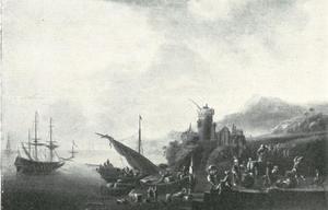 Bedrijvigheid in een haven aan de voet van een vesting