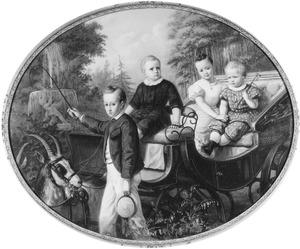 Portret van de kinderen van Jhr. Jean Francois Lewe van Nijenstein (?-?) en Jkvr. Elisabeth Anna Alberda van Menkema (1833-1891)