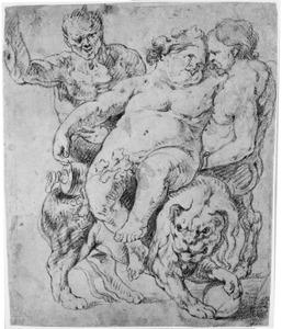 Bacchus zittend op een leeuw ondersteund door twee saters
