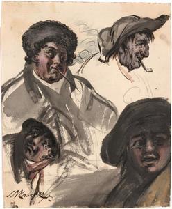 Vier hoofden van mannen