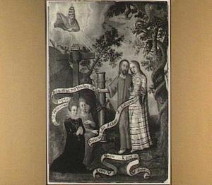 Christelijk-religieuze allegorische voorstelling met Christus en Zijn Bruid, gezegend door God de Vader en aanbeden door twee vrouwelijke donors