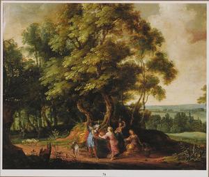 Boslandschap met Rebekka, die Eliëzer bij de bron uit haar kruik te drinken geeft (Genesis 24:17-18)