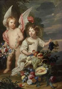Dubbelportret van een onbekende jongen en een meisje als Cupido en Ceres