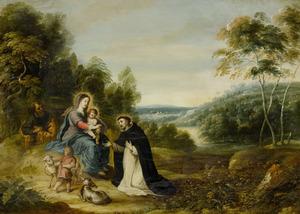 Heuvelachtig boslandschap met de Heilige Familie, Johannes de Doper en de H. Dominicus