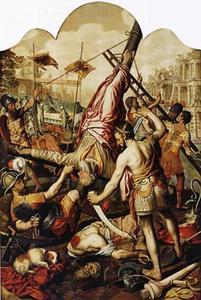 Het martelaarschap van de HH. Petrus en Paulus (achterzijde: Christus loopt over het water)