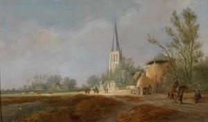 Landschap met ruiters, een hooiberg en de kerk van Voorschoten