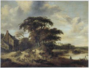 Landschap met veedrijver bij een boerderij aan een rivier
