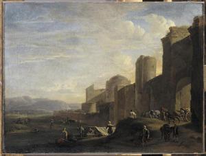 Italianiserend landschap met stadsmuur