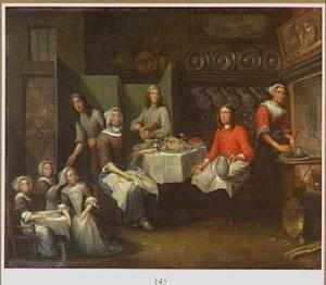 Familie bij de maaltijd in de keuken