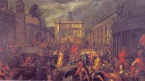 De oploop van de Romeinse vrouwen op het Kapitool te Rome na het optreden van de kleine Papirius