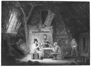 Twee drinkende boeren en een violist in een boereninterieur