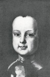 Studiekop van een jongetje voor een groepsportret van de familie Esterhazy