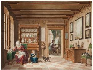 Interieur met doorkijk naar schildersatelier
