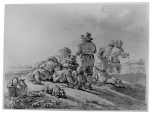 Rustende boeren op het veld