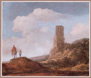 Duinlandschap met de ruïne van een kerktoren en reizigers