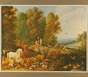 Het aards paradijs met de Zondeval: Eva biedt Adam het fruit aan  (Genesis 3:6)