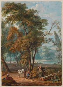 Boslandschap met een houthakker