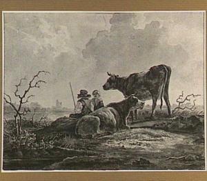 Herder, vrouw en koeien op de oever van een rivier; op de achtergrond de ruïne van het Huis te Merwede
