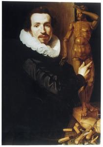Portret van een beeldhouwer met ledenpop
