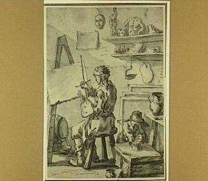 Schilder en jonge knecht in een atelier