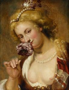 Dame met een roos in het haar