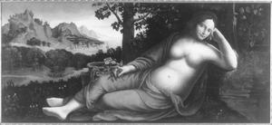 Rhea Silvia met taferelen uit de geschiedenis van Romulus en Remus