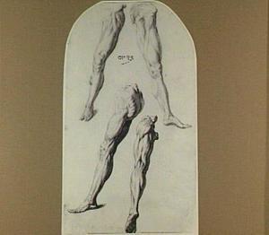 Vier studies van een geamputeerd linkerbeen