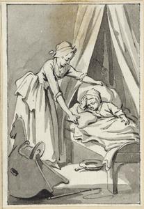 Illustratie voor 'Het zieke kind' in de Kleine gedichten voor kinderen door H. van Alphen