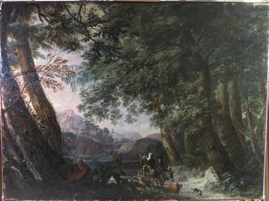 Italianiserend boslandschap met herders en vee