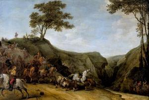 Berglandschap met ruitergevecht