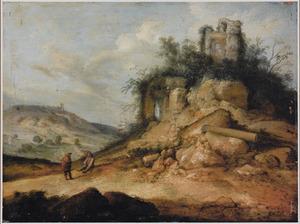 Zuidelijk rotslandschap met twee figuren bij een begroeide ruïne
