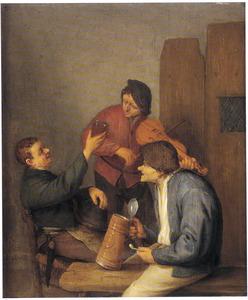 Drie boeren vermaken zich in een herberg