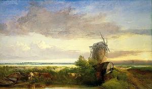 Landschap met molens en vee