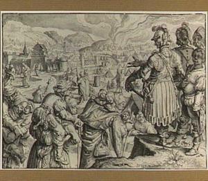 Keizer Conrad II ziet toe hoe de vrouwen van Weinsberg hun echtgenoten en kinderen op de rug wegdragen uit de overwonnen stad